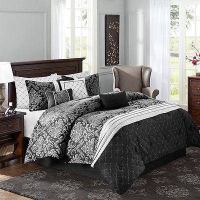 Luxury Silver Black Brown Blue Damask Diamond King Queen Comforter