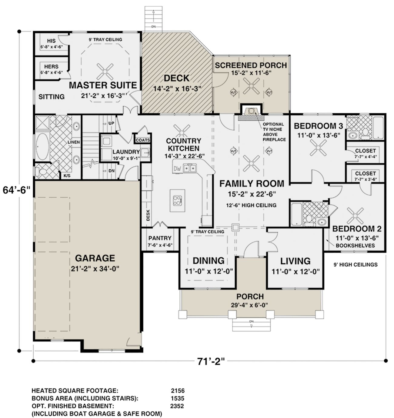 House Plan 036 00243 Country Plan 2 156 Square Feet 3 Bedrooms 3 Bathrooms Basement House Plans Ranch Style House Plans Ranch House Plan