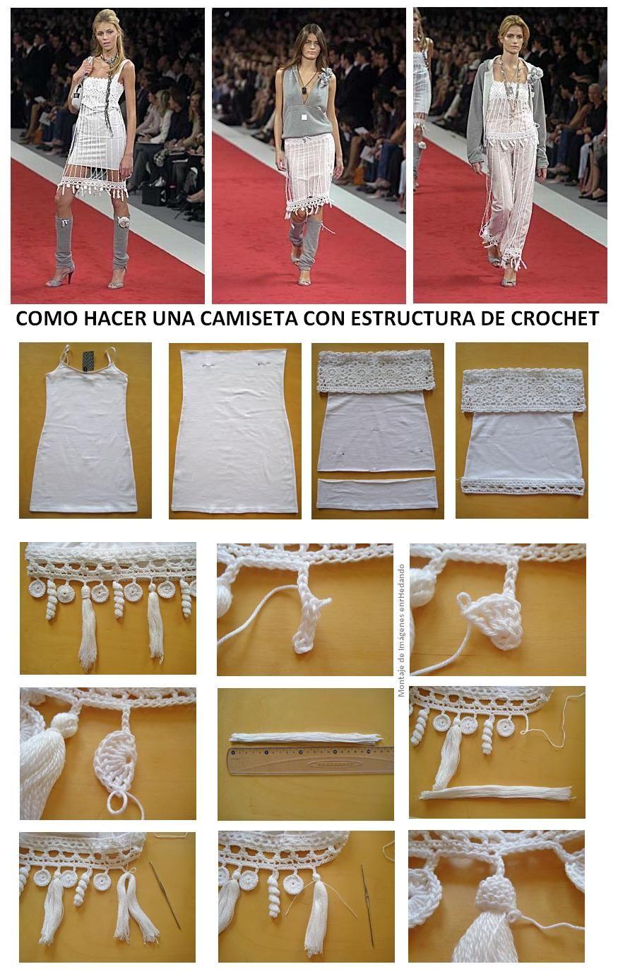 T-Shirt Crochet - Tutorial   TIG İŞİ   Pinterest   Bordüren, Pulli ...