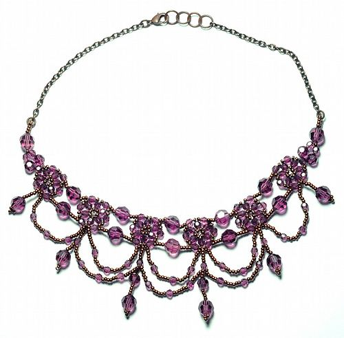 Vintage Seed bead necklace beaded earrings choker collar beautiful necklace set