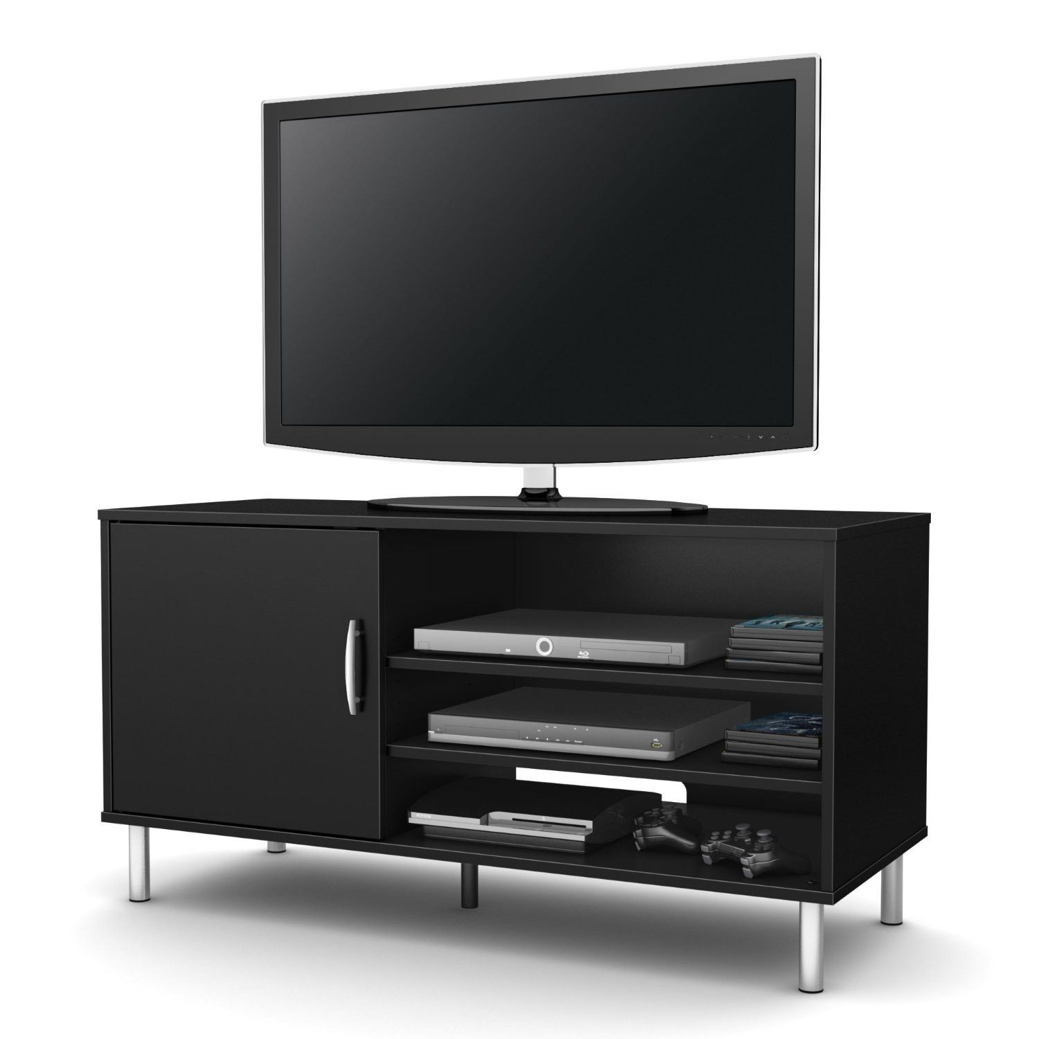 Modern Tv Stand In Black Wood Finish With Metal Legs Tv Stand