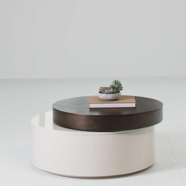Stacked Disk Storage Coffee Table Dark Mineral Salt Walnut