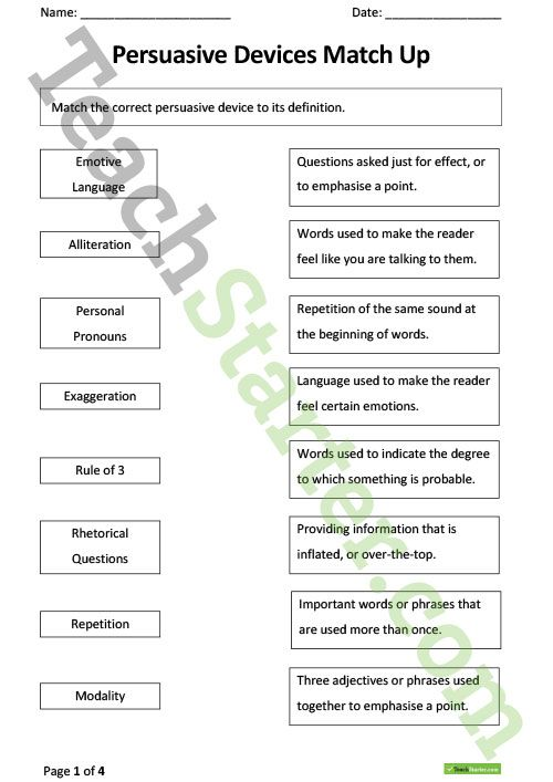 Persuasive Devices Worksheets Teaching Resource