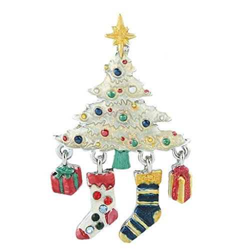 Ever Faith Christmas Tree Stockings Gift Box Silver Tone Brooch Austrian Crystal Http Www Amazon Com Dp Jewelry Christmas Tree Stocking Tree Christmas Bling