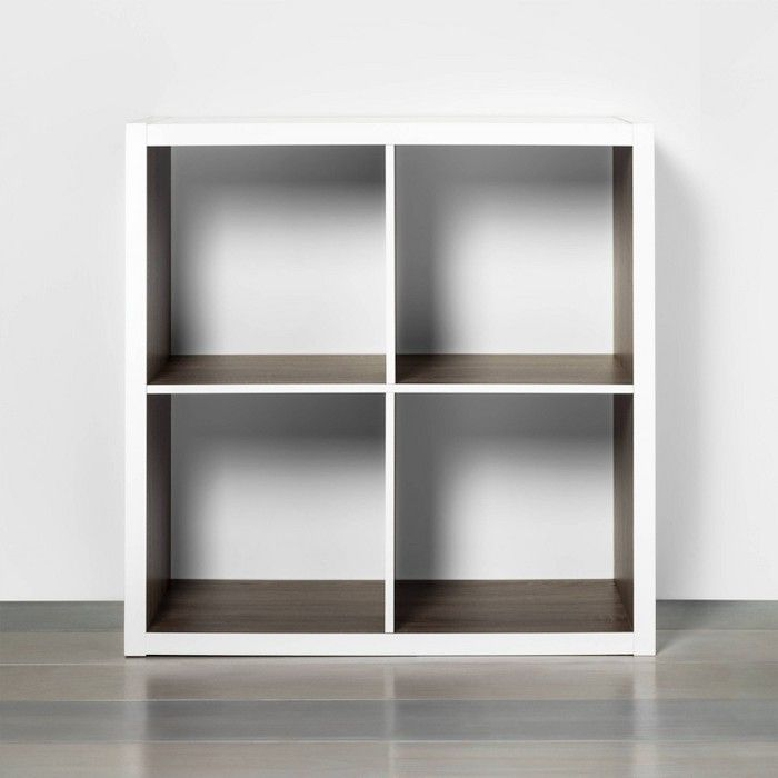 4 Cube Storage Organizer White With Wood Accents Threshold Cube Storage Wood Accents Small Space Storage