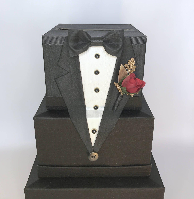 wedding gift card holders%0A Tuxedo Wedding Card Box Mens Wedding Card Holder Unique Elegant Wedding Card  Box Custom Box Handmade