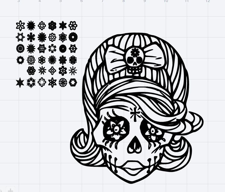 Lady Sugar Skull With 35 Detachable Flowers SVG Cut File