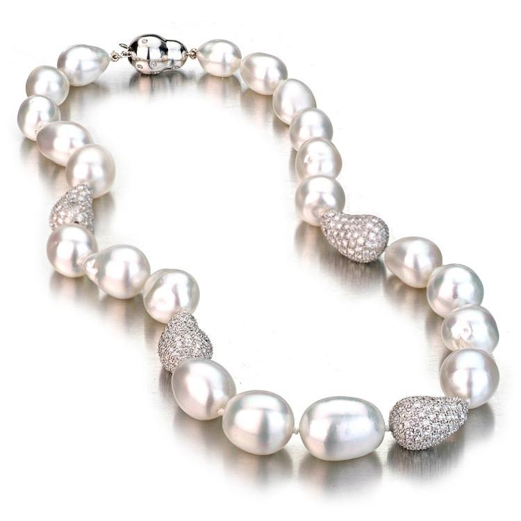 f21d9e5e6e553 White Baroque South Sea Pearl Necklace w/ Baroque Diamond Ball ...
