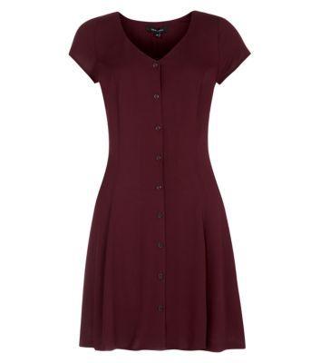 Dark Purple Button Up Lattice Back Skater Dress £19.99 | My Style ...