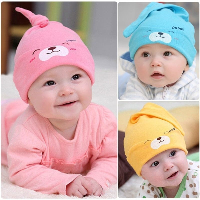 273d1ceb59ce Smile Baby Sleeping Hats for Newborn Infant Girls Beanie Toddler ...