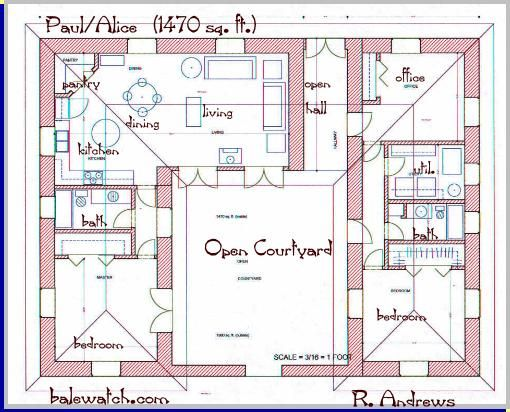 Clutterus A Straw Bale House Plan 1479 Sq Ft Courtyard House Plans House Plans New House Plans