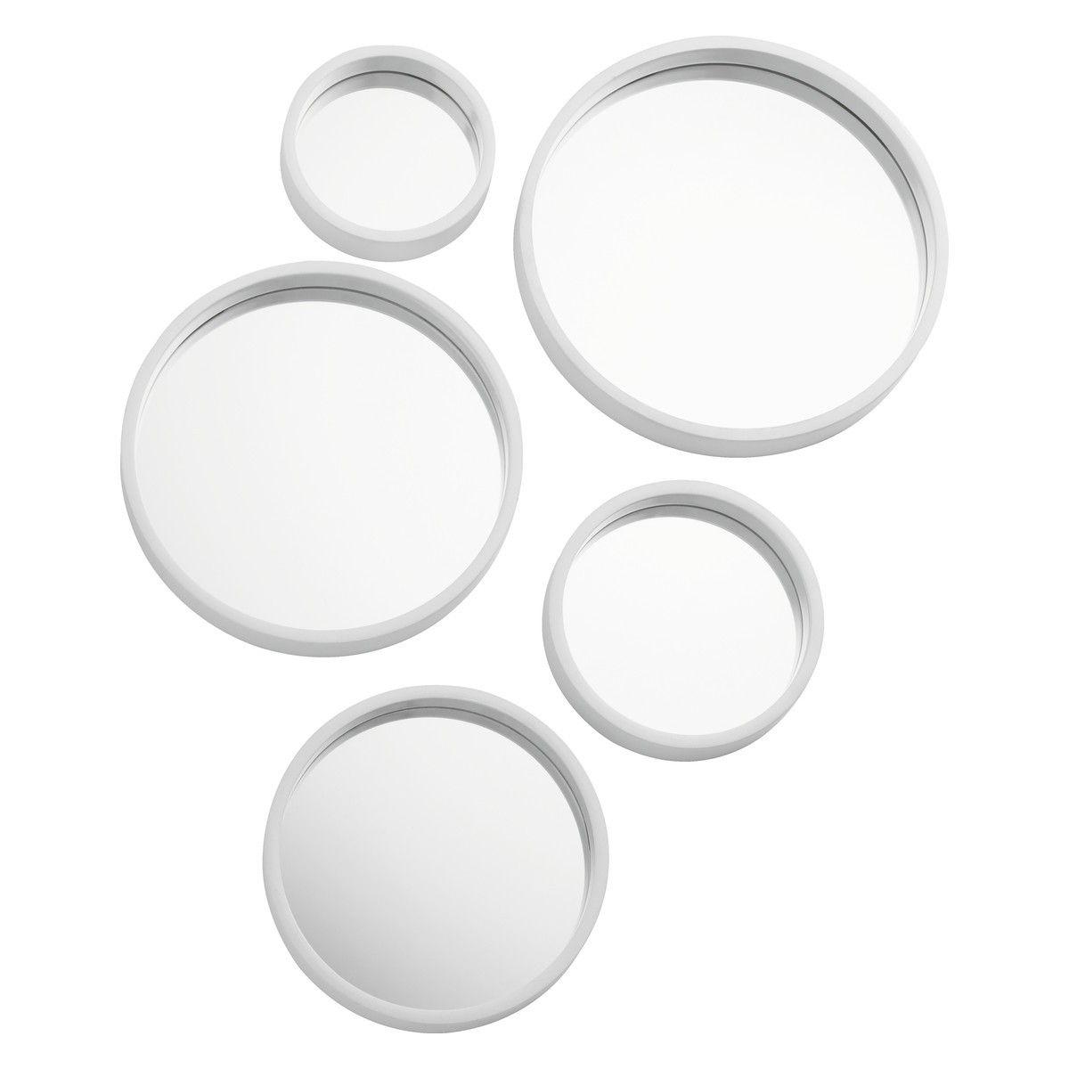 MIRROR MIRROR Set of 5 white round mirrors   Buy now at ...