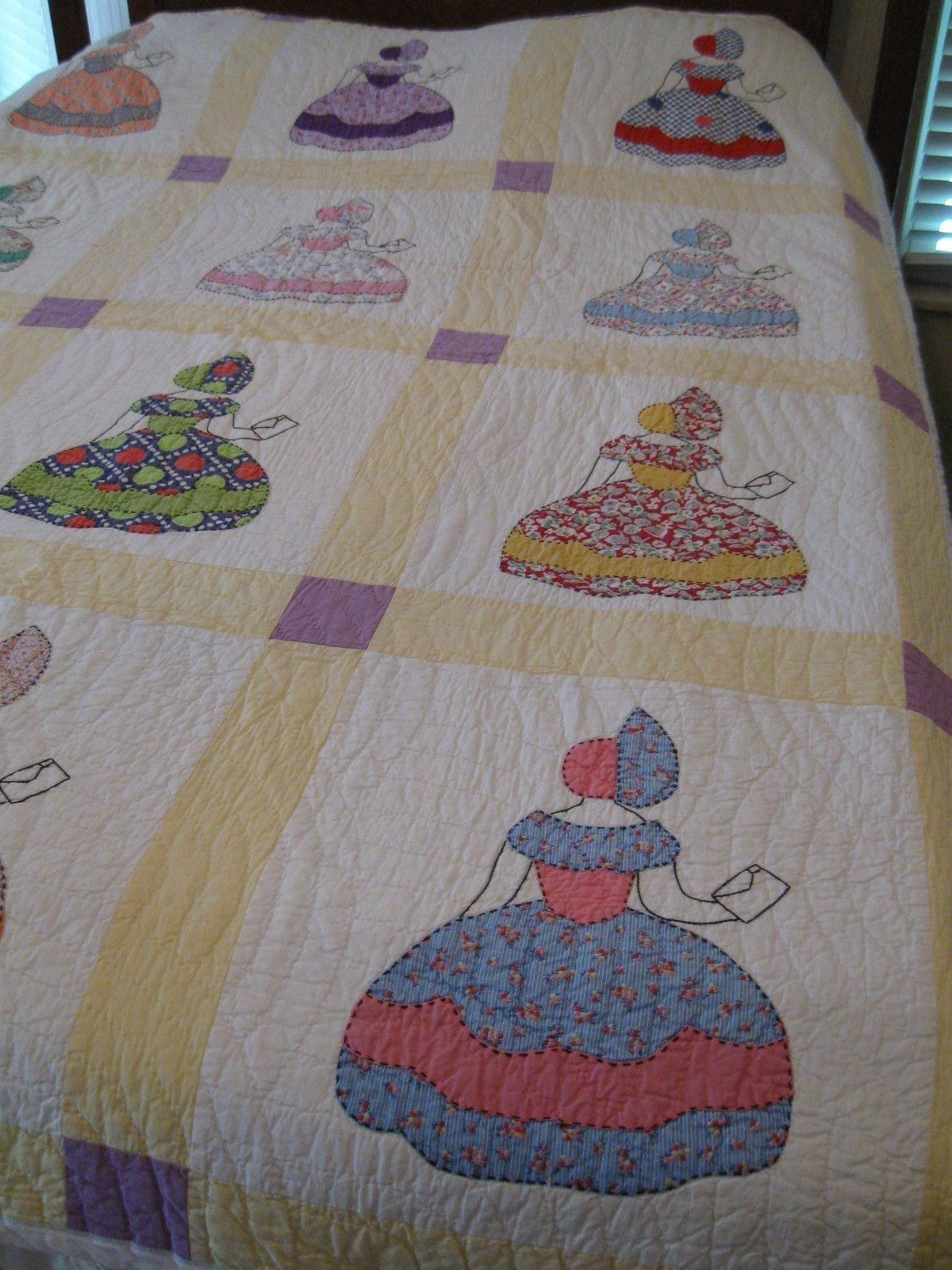 Antique Vintage Sunbonnet Sue Quilt Mailing A Letter Multi Color