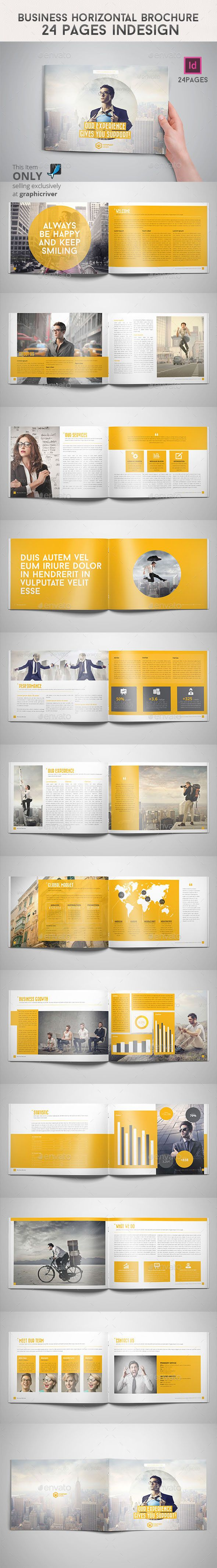 Business Horizontal Brochure Pages Indesign Brochures - Horizontal brochure template