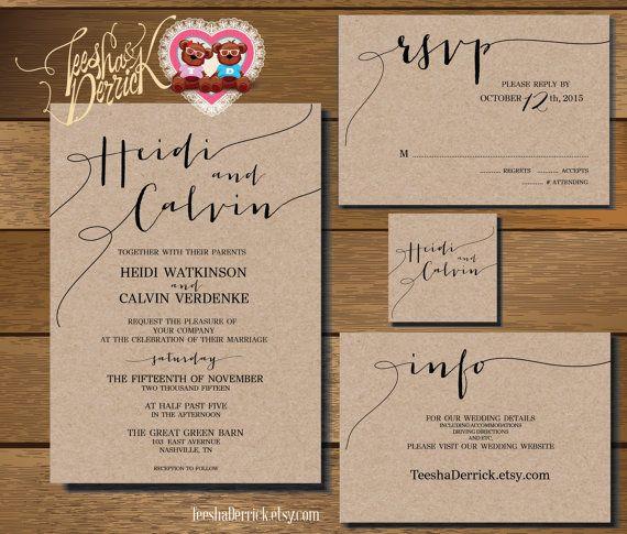 Printable Wedding Invitation Suite W0175 Consists Of Wedding