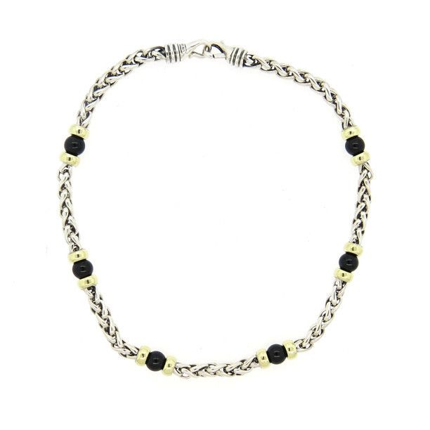 David Yurman 14K Gold Sterling Silver Onyx Station Wheat Chain Necklace