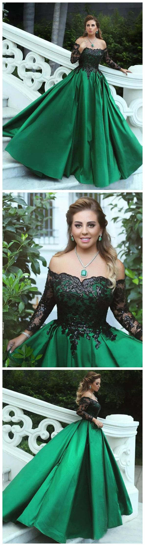 Ball gowns offtheshoulder prom dress with long sleeve lace long