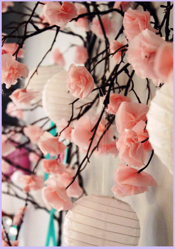 Paper Cherry Blossom Paper Lanterns Perfect For Japanese Party Or Wedding Flower Crafts Paper Flowers Cherry Blossom Wedding