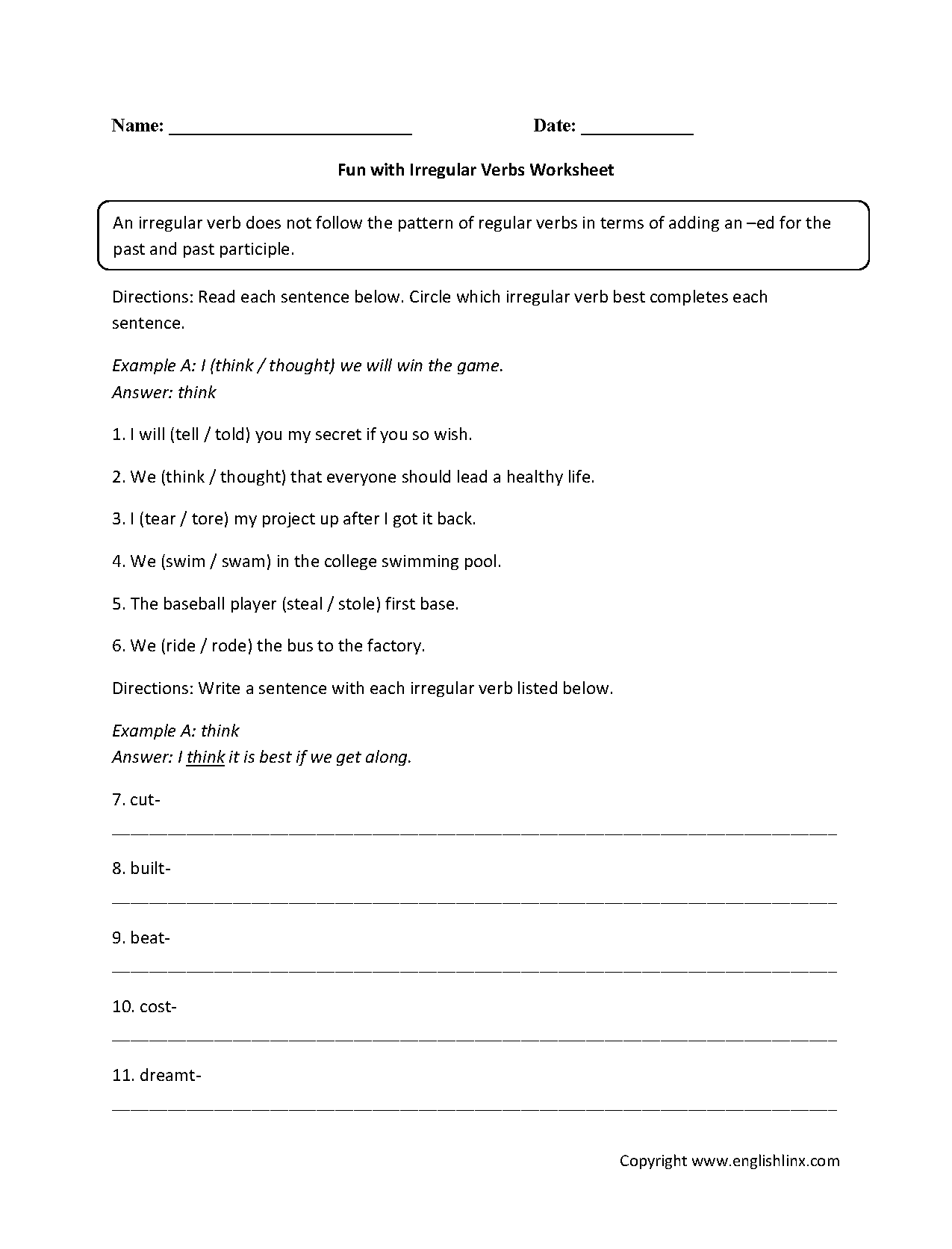 Fun With Irregular Verbs Worksheets