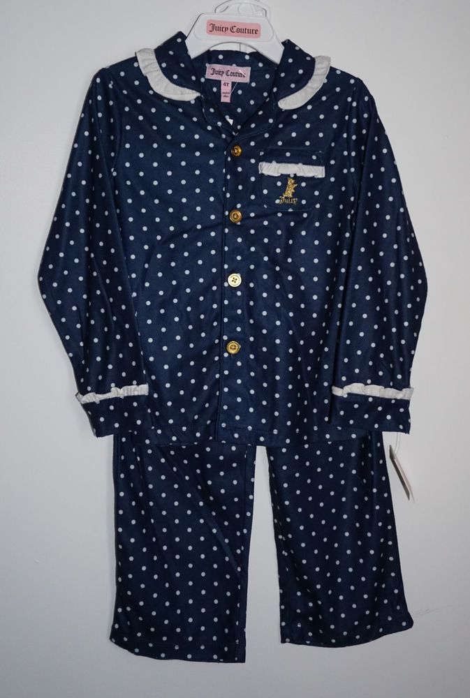 Nwt Juicy Couture Toddler Girls 4t 2 Piece Flannel Pajamas Sleepwear Juicycouture Twopiece Childrens Clothes Couture Outfits Juicy Couture