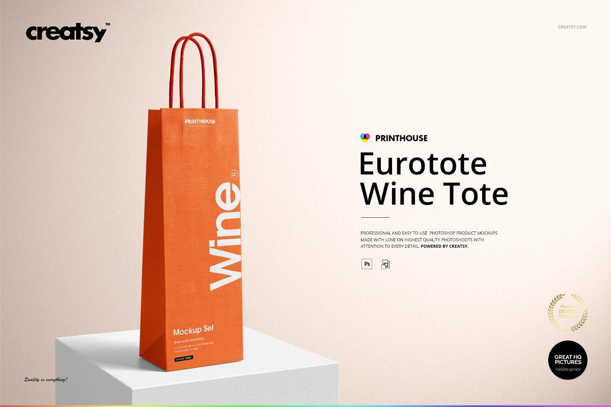 Kraft paper bag for bottles. Eurotote Wine Tote Bag Mockup Set Bag Mockup Wine Tote Wine Tote Bag