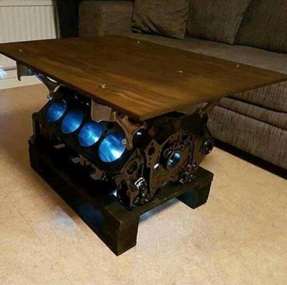 Engine Table Engine Table Engine Garageideasdesign Garageideasdiy Garageideasformen Table In 2020 Garage Furniture Car Part Furniture Automotive Decor