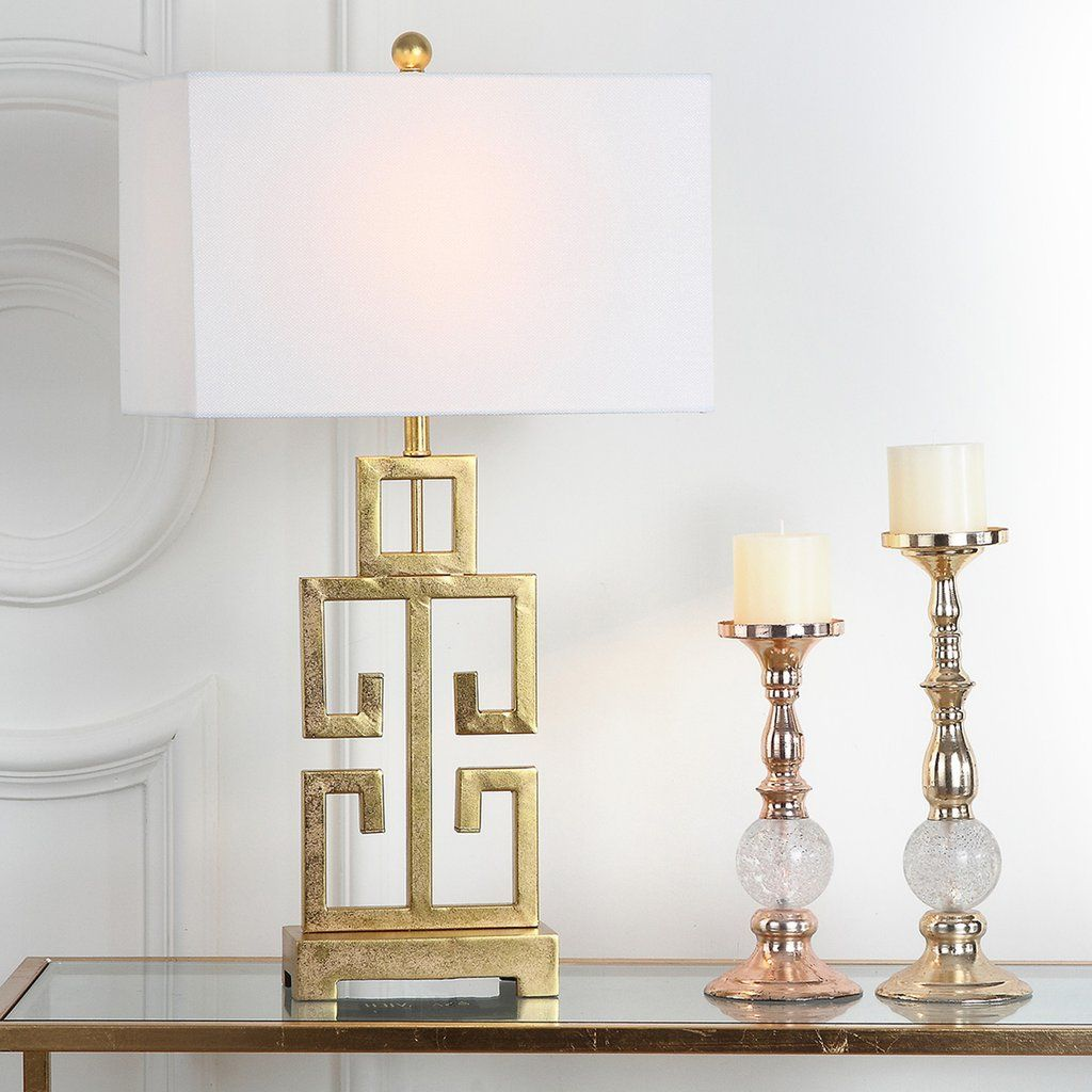 Safavieh Greek Key Table Lamp Antique Gold (With images