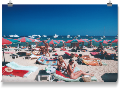 Sunbathers on the beach at St. Tropez, France, 1977
