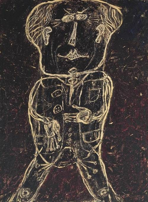 darksilenceinsuburbia:   Jean Dubuffet,Portrait d'Henri Michaux (Monsieur Plume), 1947.