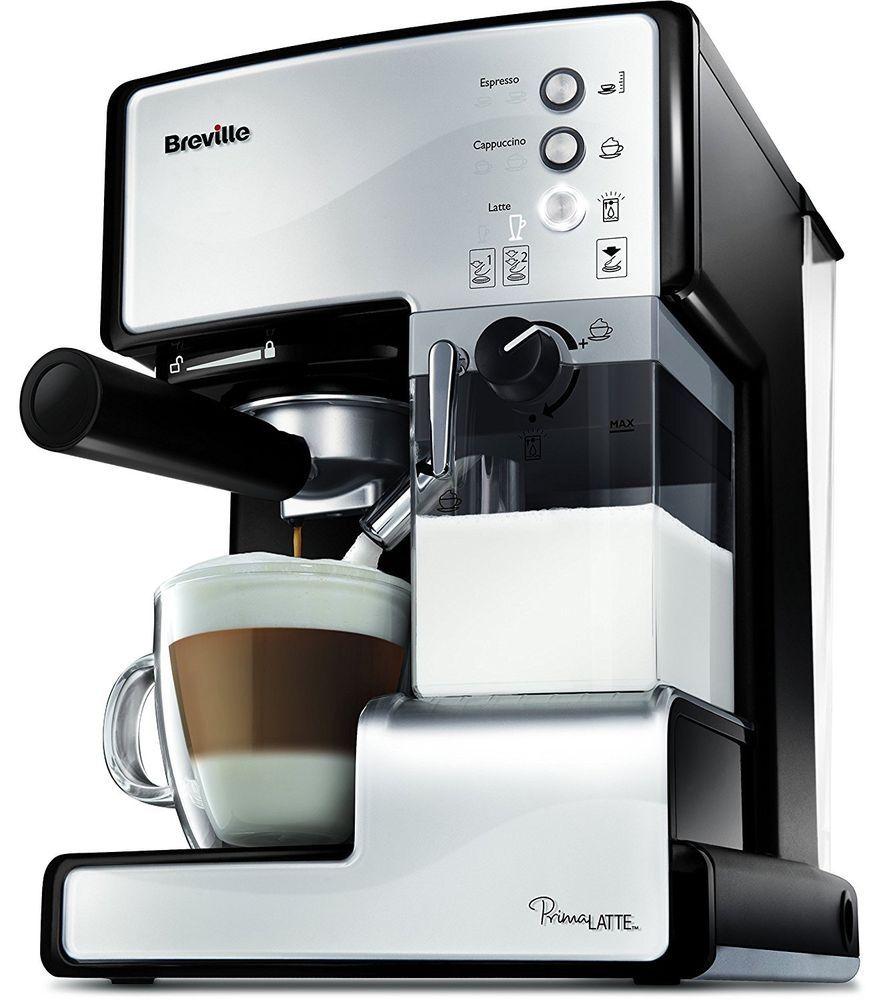 White//Metallic Open Filter System Breville VCF045 Prima X Latte Coffee Machine