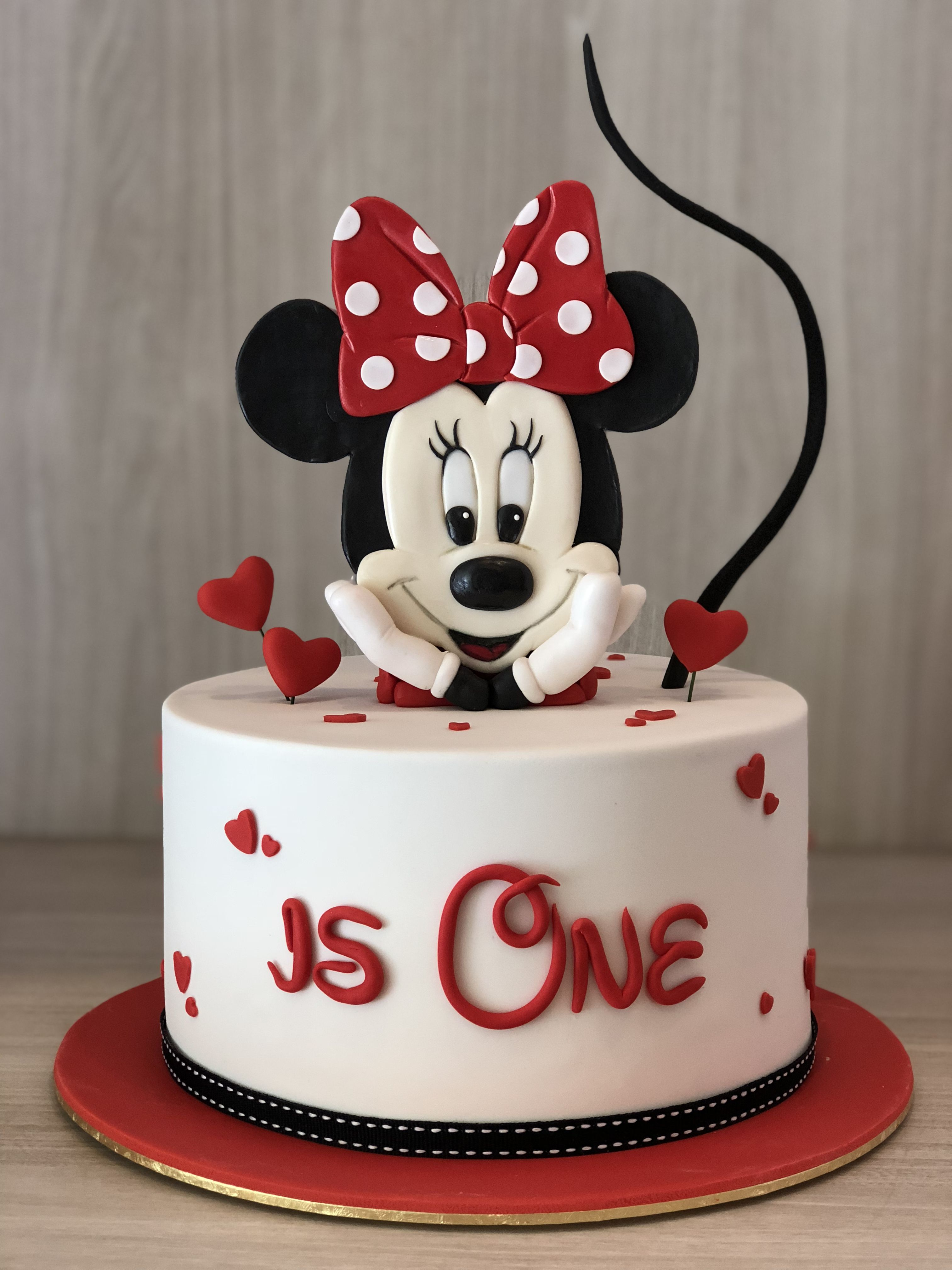 Superb Minnie Mouse Cake Minnie Mouse Birthday Cakes Mickey Mouse Funny Birthday Cards Online Overcheapnameinfo