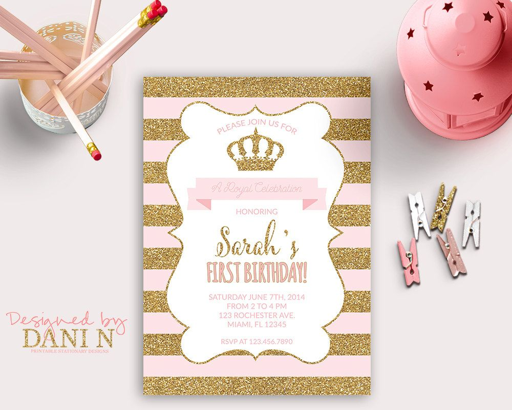 Princess INVITATION, First Birthday Party, gold glitter sparkle ...