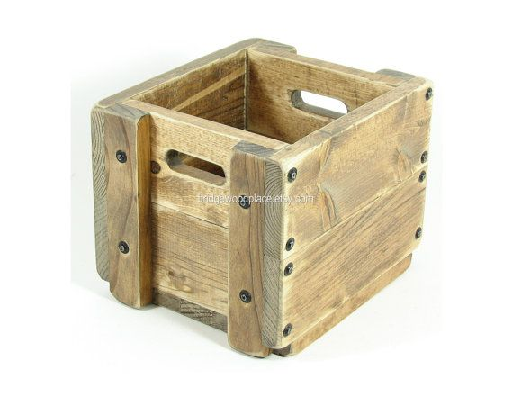 Wood crate wooden box table centerpiece utensil holder