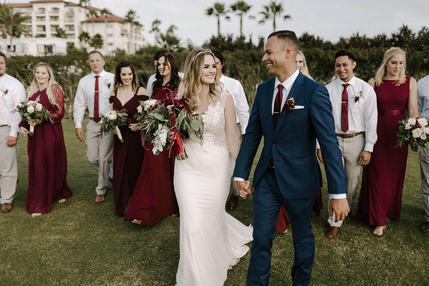 Burgundy bridesmaid dresses and Navy suits wedding / Lucky