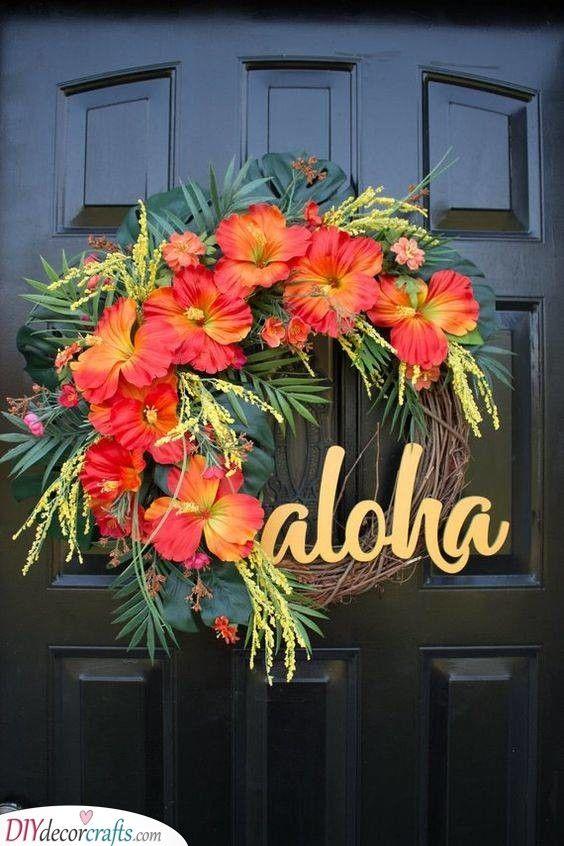 Photo of A Tropical Look – Summer Wreath Ideas