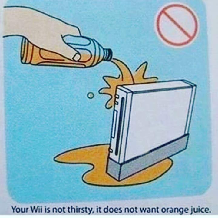 Well I Wish I Saw This Before I Gave My Wii Orange Juice