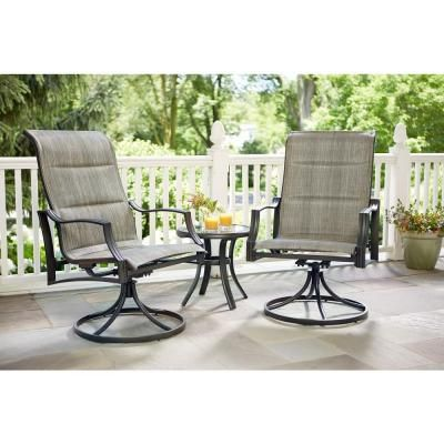 Hampton Bay Statesville Padded Sling Patio Lounge Swivel Chairs (2 Pack)  $229.00 /pair