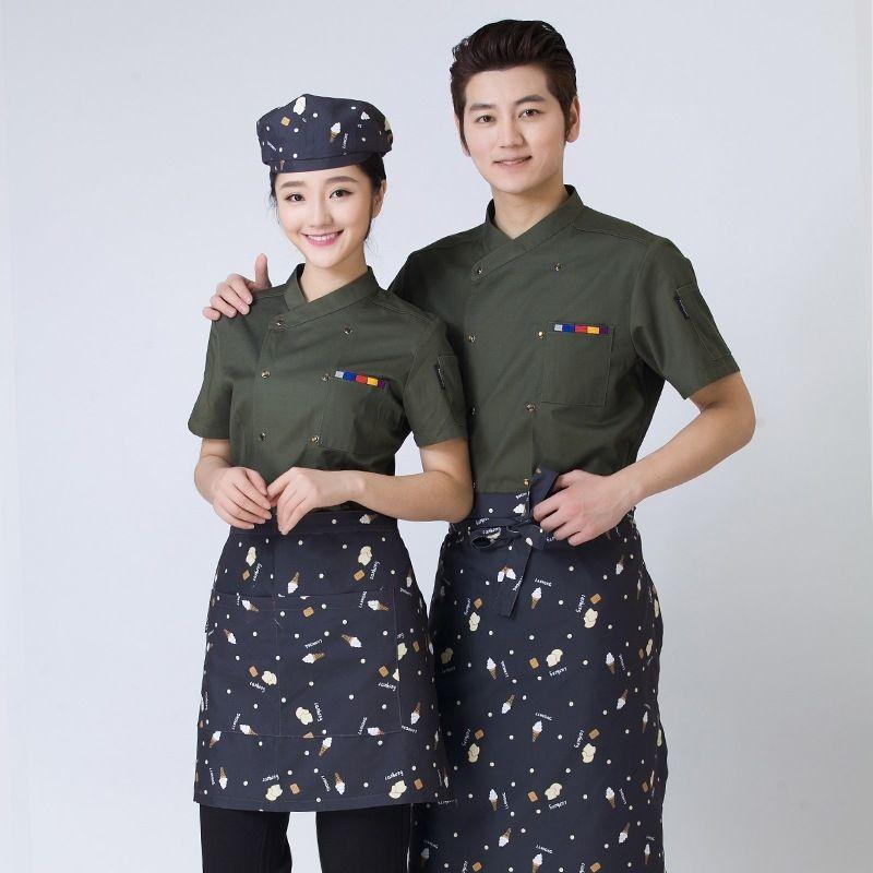 Multicolor Chef Uniform Wear Short Sleeved Summer Hotel Restaurant - employee uniform form
