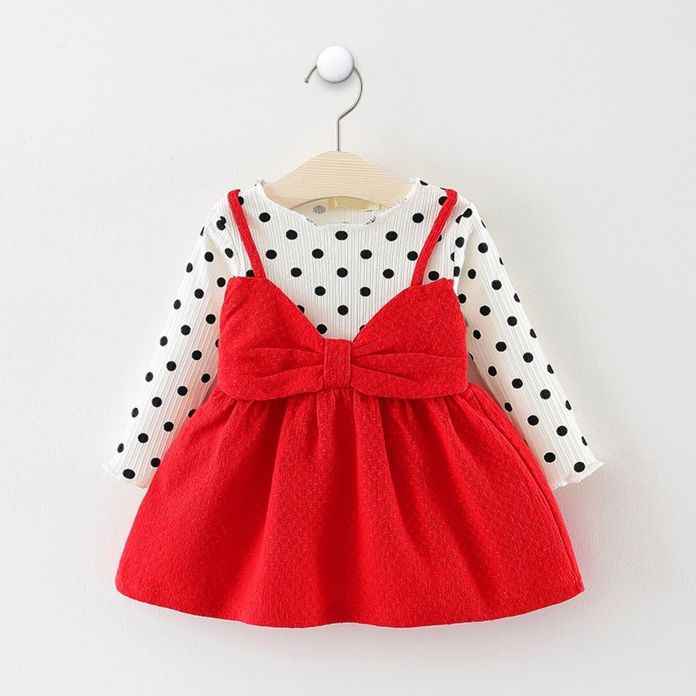 Toddler Baby Kid Girl Polka Dot Print Princess Dress Autumn Winter Thick Gifts