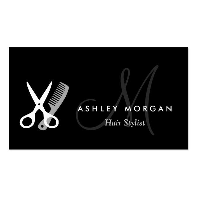 Black white monogrammed hair salon hairstylist diseo tarjetas black white monogrammed hair salon hairstylist double sided standard business cards pack of make your own business card with this great design cheaphphosting Choice Image