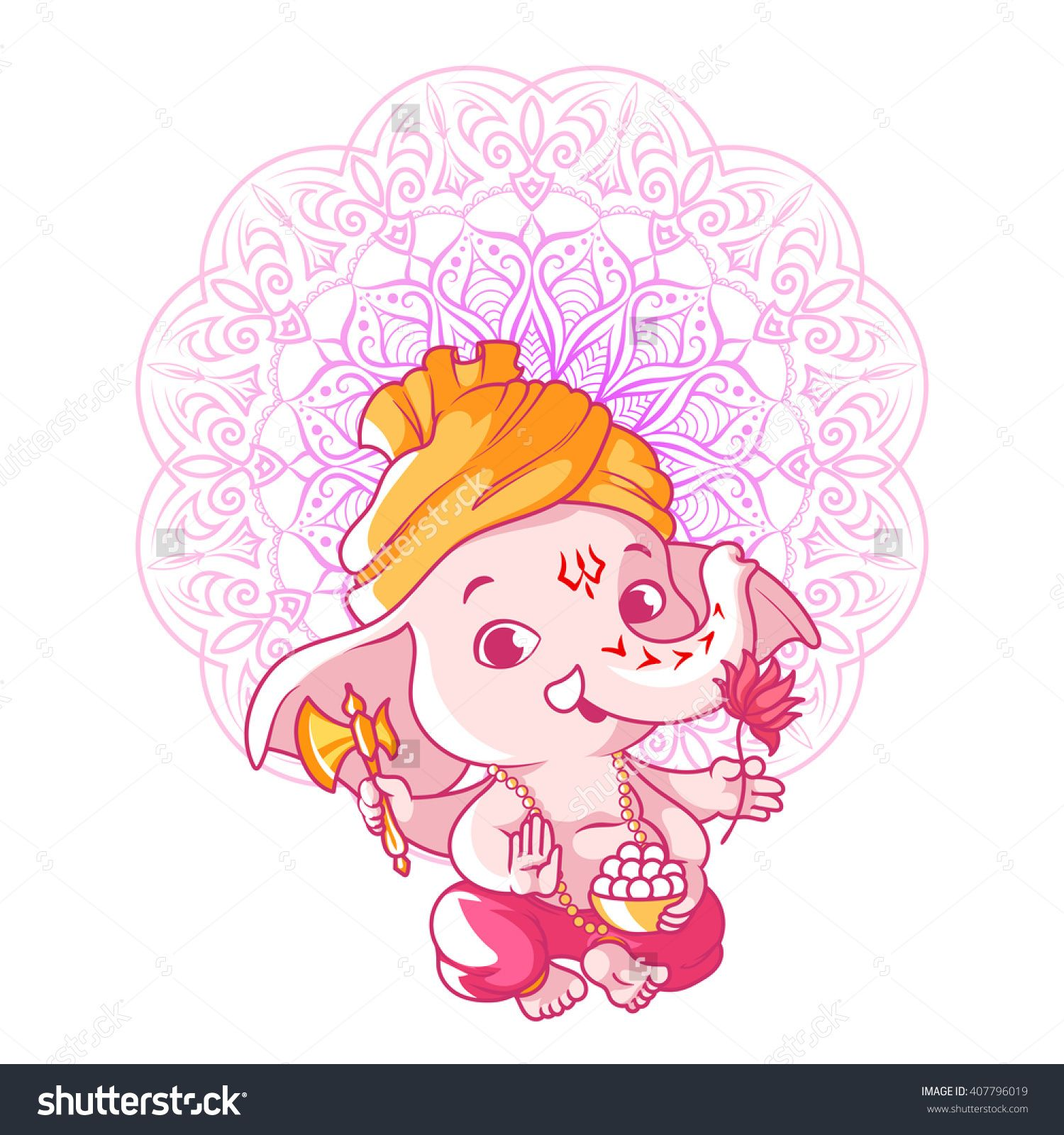 Little Cute Ganesha Cartoon Character Vector Cartoon Illustration On A White Background 407796019 Shutt God Illustrations Ganesha Art Mandala Design Art