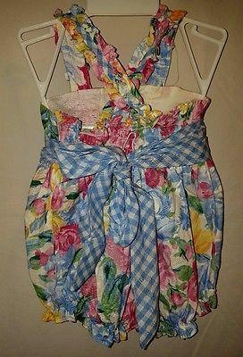 Vintage girls pink floral blue plaid bubble romper one piece 12 M 12-18 months