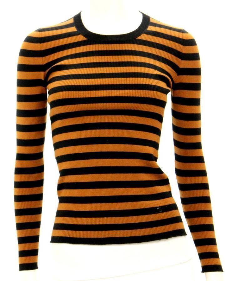 Gucci Brown & Black Stripe Rib Knit Crewneck Sweater Size XS ...