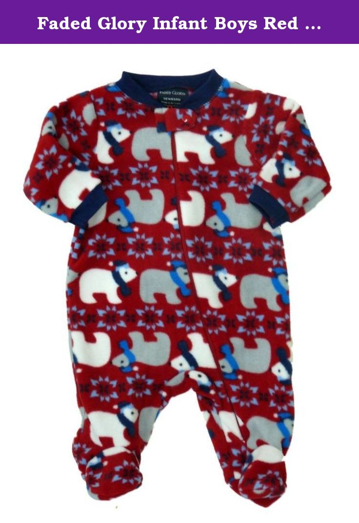Faded Glory Infant Boys Red Fleece Polar Bear Sleeper Holiday Pajamas NB.  This cozy red microfleece baby sleeper has a fun polar bears and snowflakes  ... a1d9bd146