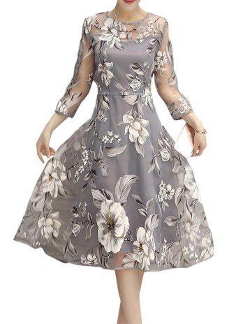 Rundhals Blumen Kleid aus Tüll in A-Linie | Kleid ...