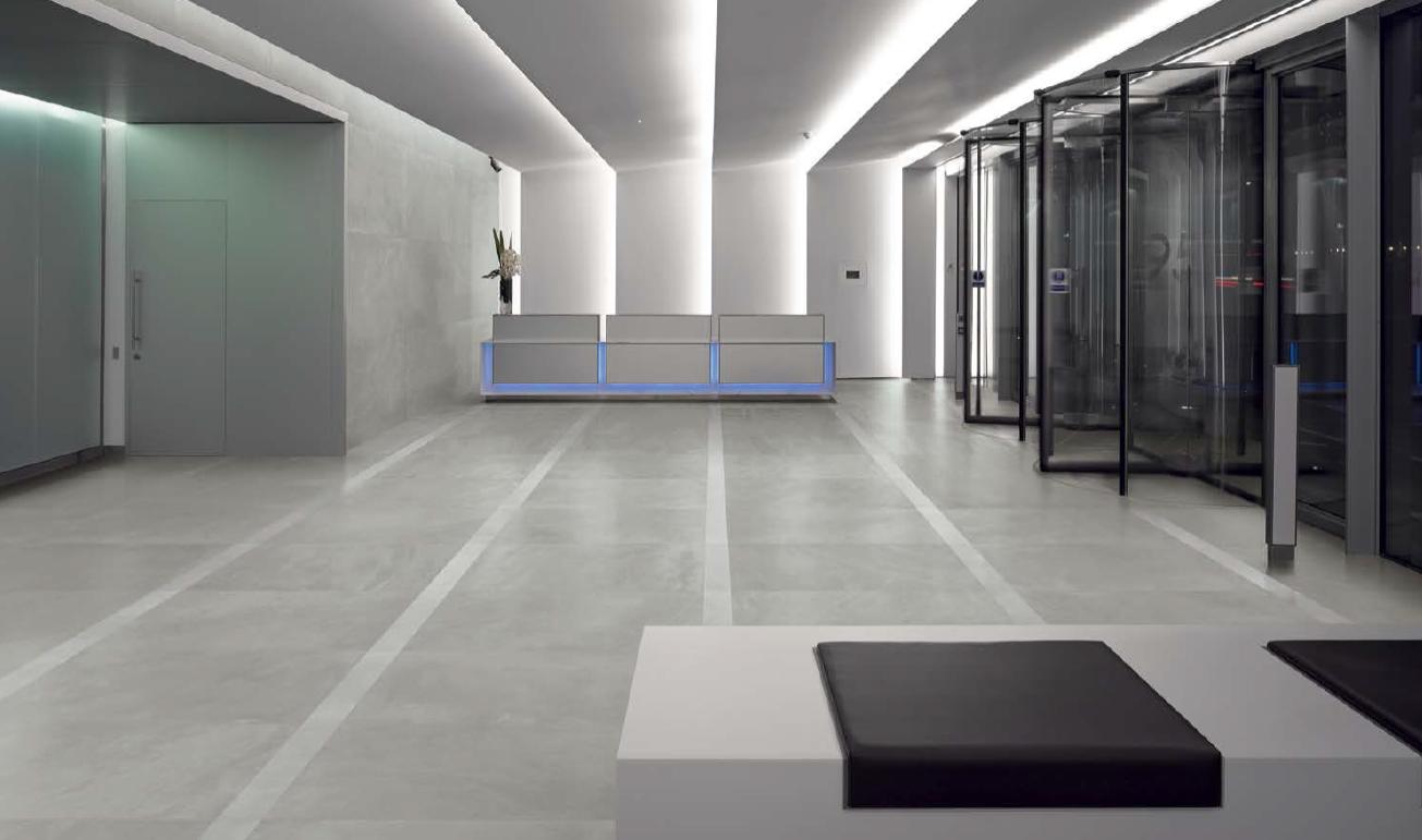 Resin bathroom floor -  Ergon Architect Resin Berlin Grey Semi Polished 80x80 Cm 809g8p Porcelain