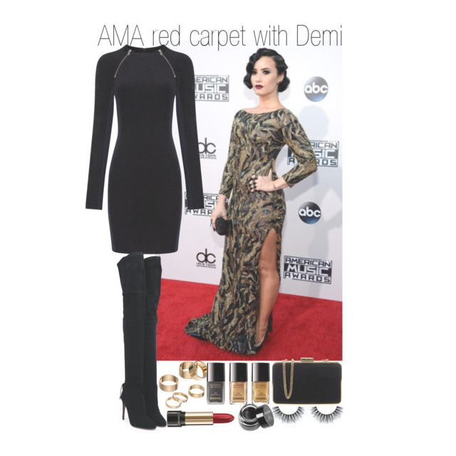 """""""AMA red carpet with Demi"""" by cchood ❤ liked on Polyvore featuring T By Alexander Wang, Aquazzura, Apt. 9, Chanel, MICHAEL Michael Kors, Lancôme and NYX"""