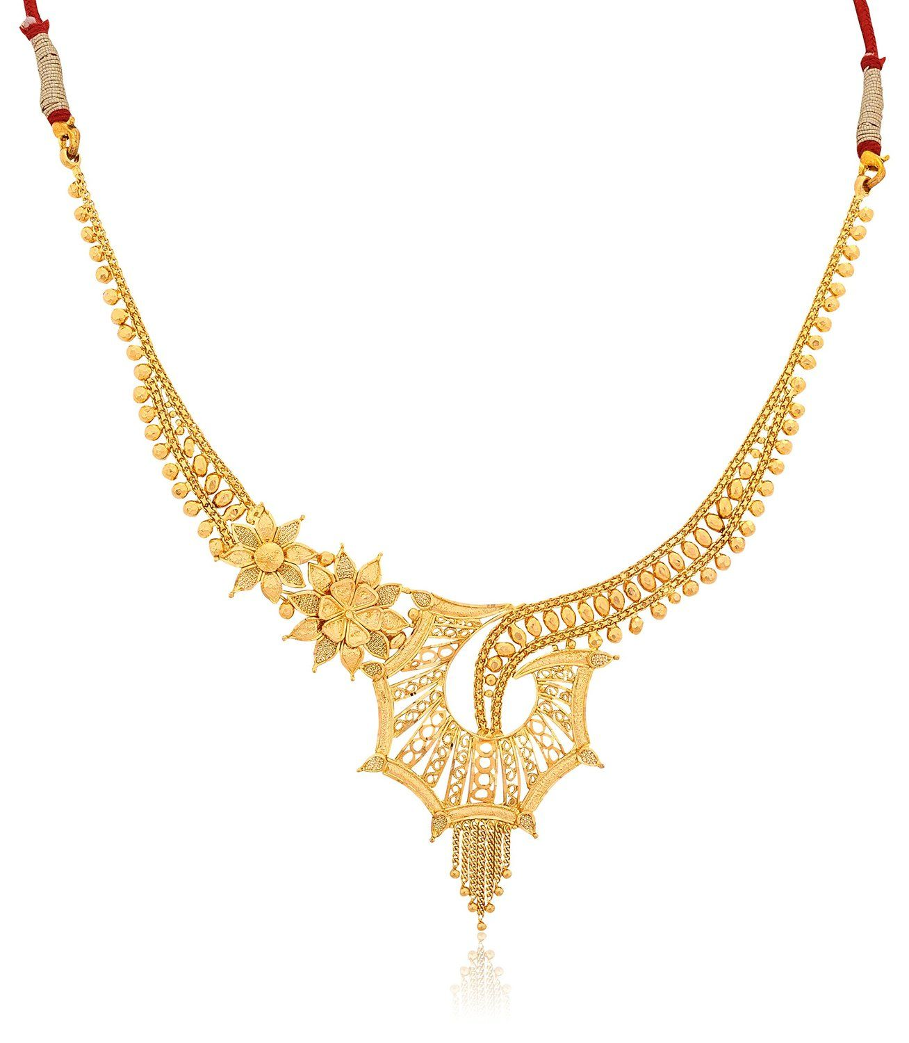 Senco Gold 22k Yellow Gold Choker Necklace   Indian Traditional ...