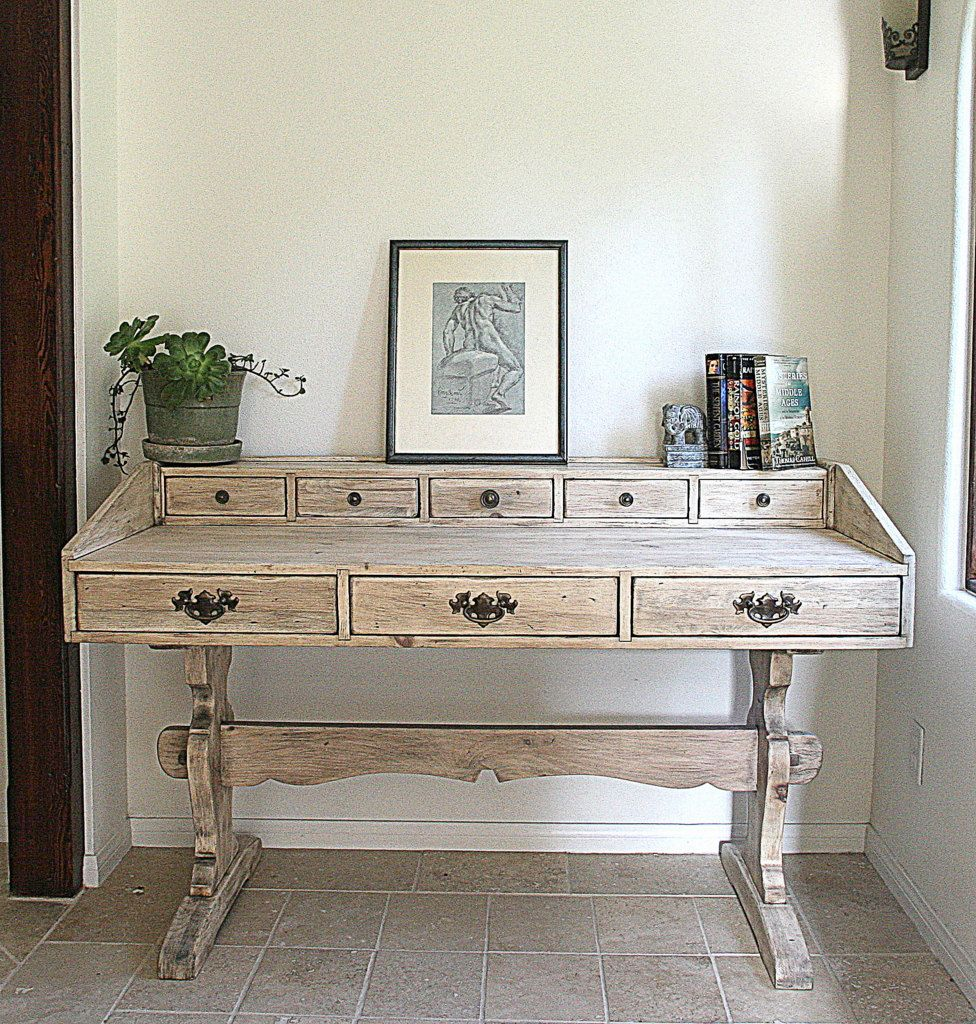 Vintage Desk Rustic Grey Hand Finished With By