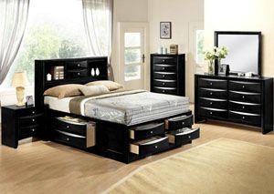 Black Emily Queen Storage Captain's Bed w/ Dresser, and Mirror